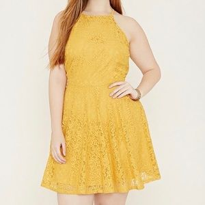 Forever 21 Plus Size Yellow Cami Lace Dress 3X